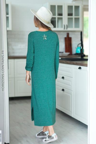 robe longue vert bouteille boutonnée étoile sequins dos D120 (1)