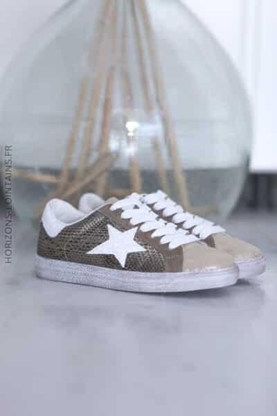 Baskets gold étoile blanche et imitation python D30 (1)