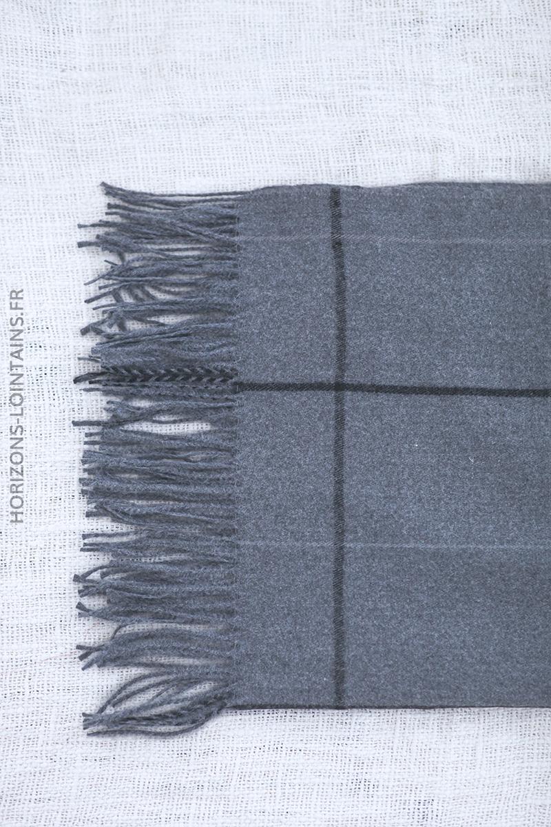 Echarpe gris foncé toucher cachemire à carreaux D003 (1)