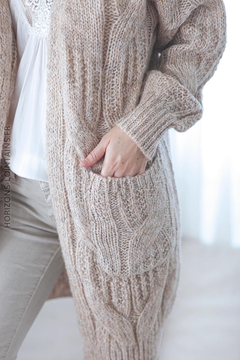 Gilet long beige chiné torsadé avec poches D31 (1)