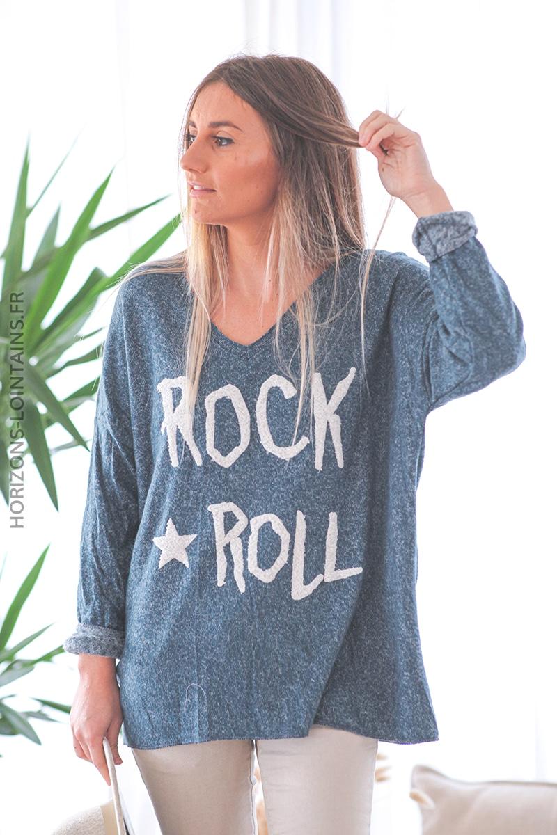 Pull extra doux bleu pétrole chiné rock & roll étoile D233 (1)