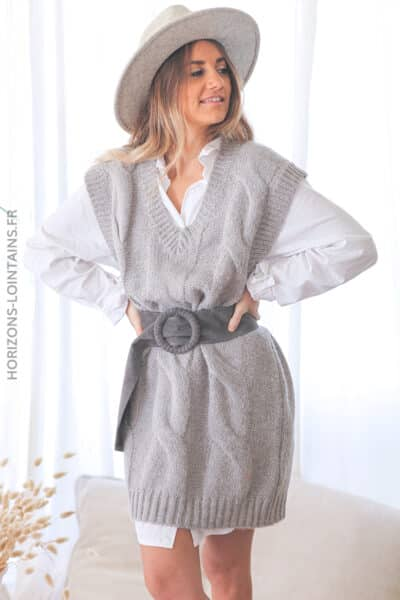 Robe grise sans manche maille tressee D139 (1)