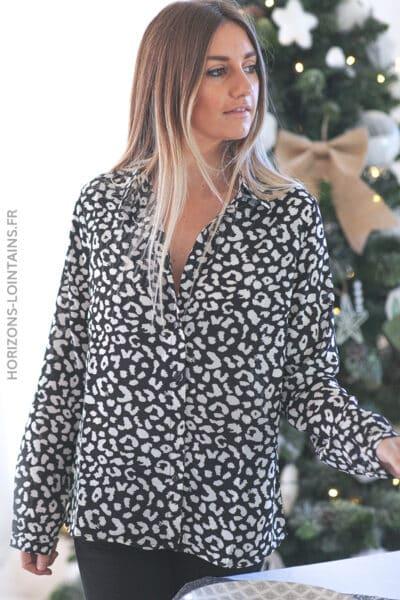 Chemise imprimé léopard noir et blanc D201 (1)