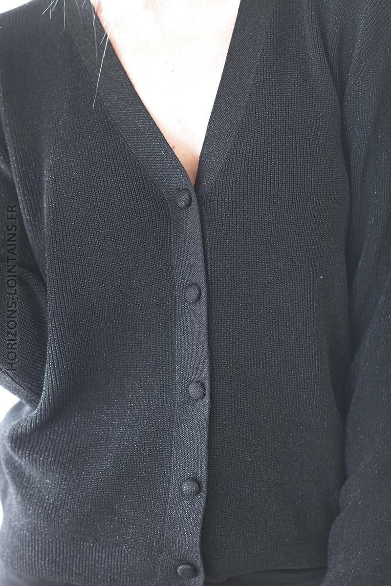 Gilet noir brillant lurex petits boutons D028 (1)