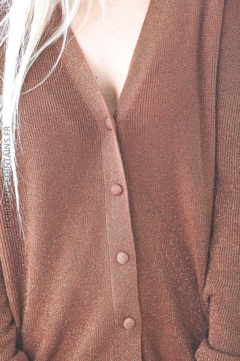 Gilet noisette brillant lurex petits boutons D028 (1)