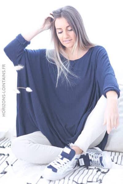 Pull large bleu marine manches chauve souris D172 (1)