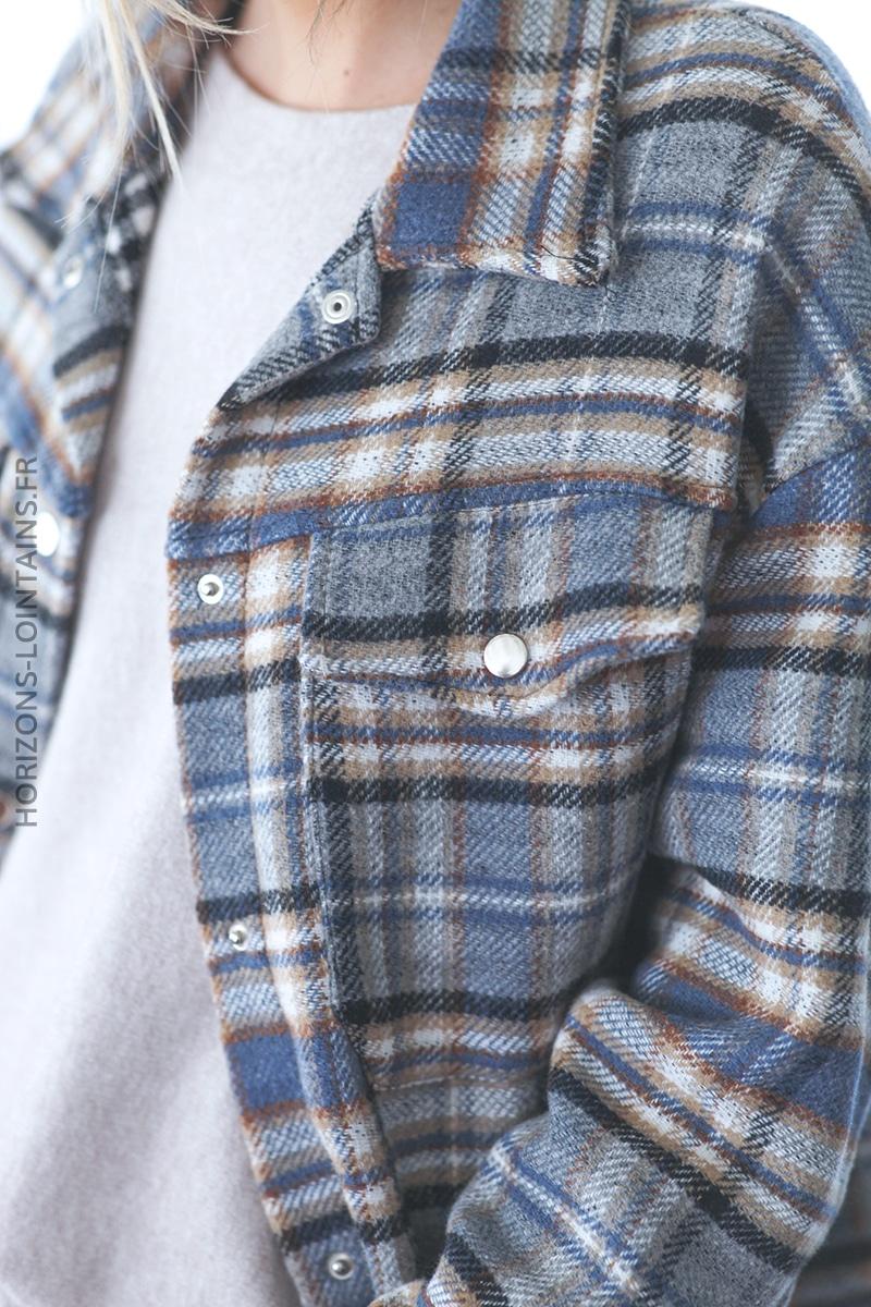 Surchemise carreaux écossais bleu avec franges D035 (1)