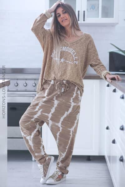 Pantalon jogging camel clair baggy tie and dye D100 (1)