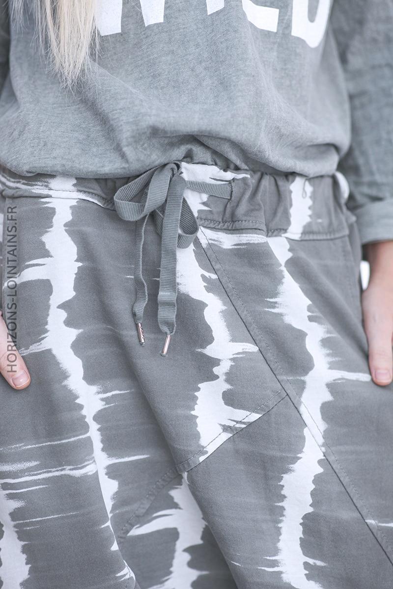 Pantalon jogging kaki baggy tie and dye D100 (1)