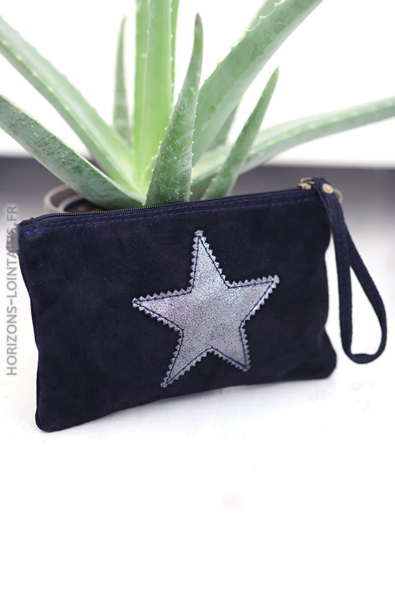 Pochette étoile en croûte de cuir bleu marine