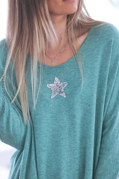 Pull vert col v petite étoile sequins C176 (2)