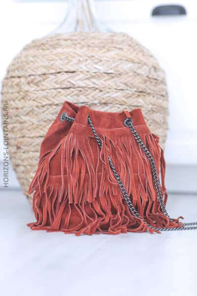 Sac en cuir velours à franges chainette terracotta B047