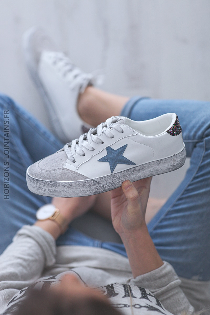 Baskets blanches semelles effet usé étoile bleu jean E007 (1)