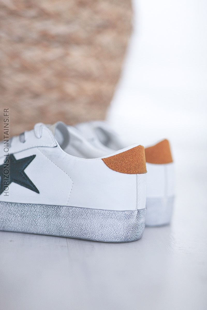 Baskets blanches semelles effet usé étoile bleu nuit E007 (1)