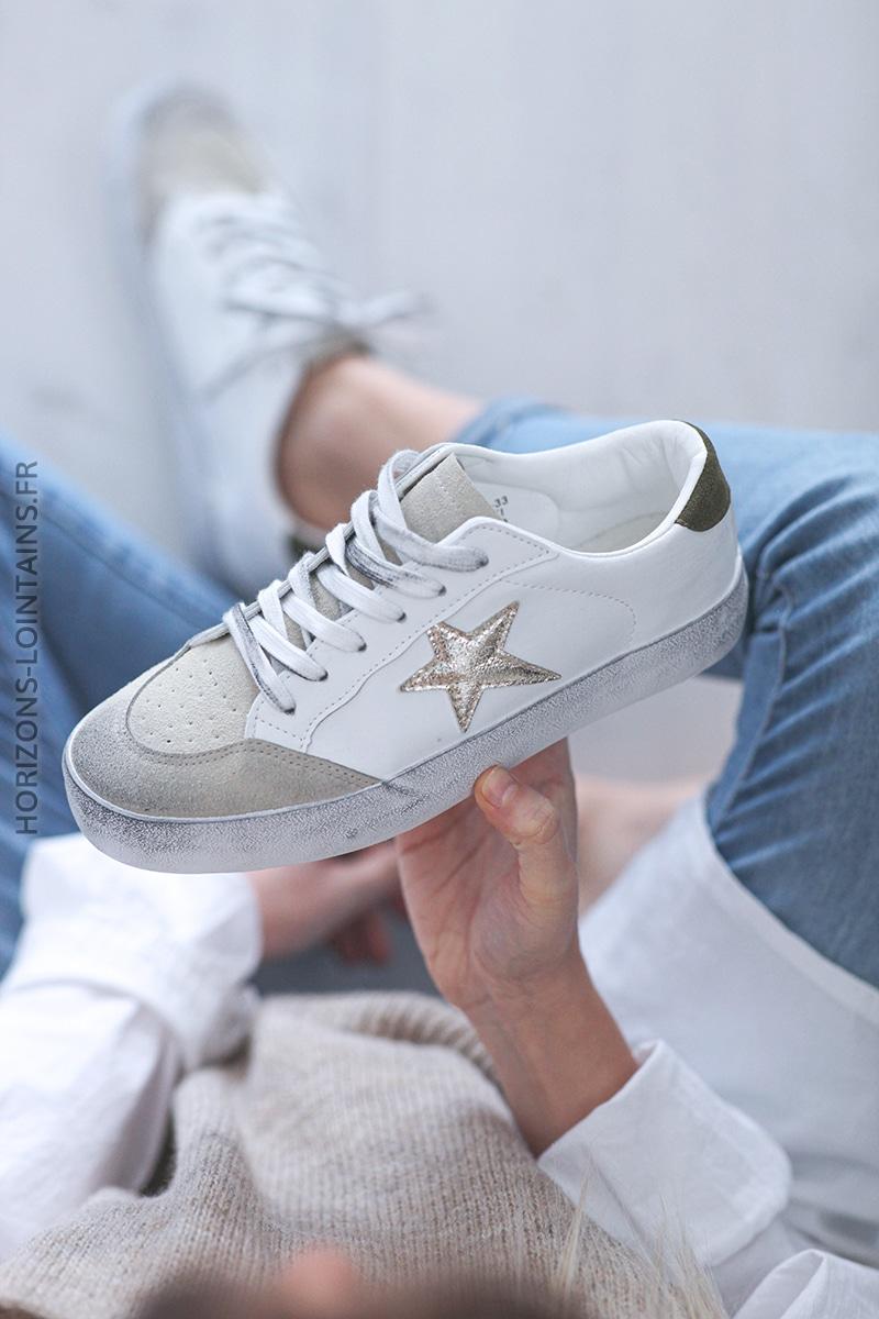 Baskets blanches semelles effet usé étoile doré E007 (1)