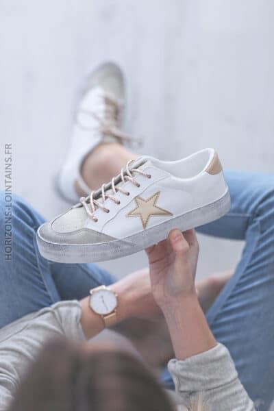 Baskets blanches semelles effet usé étoile or E007 (1)