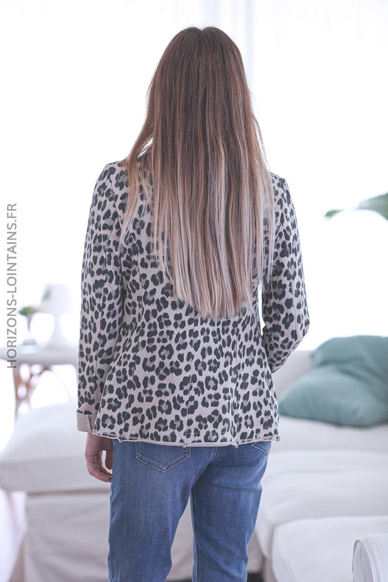 Blazer beige léopard E002 (1)
