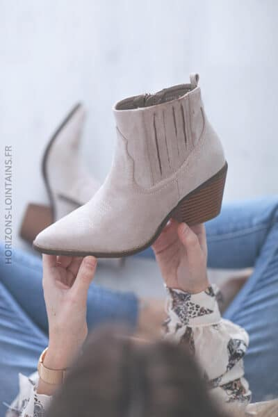 Bottines à talon beige clair E006 (1)