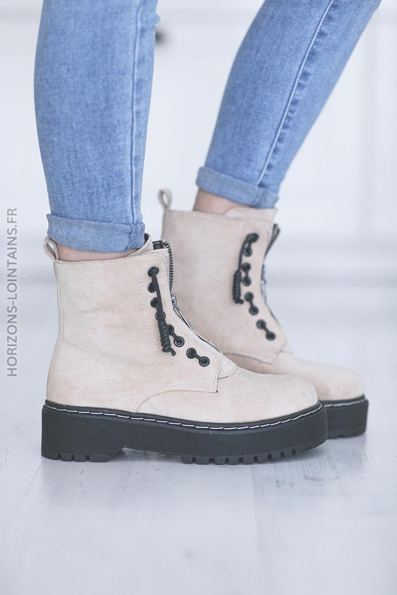 Chaussures montantes Nancy beige E008