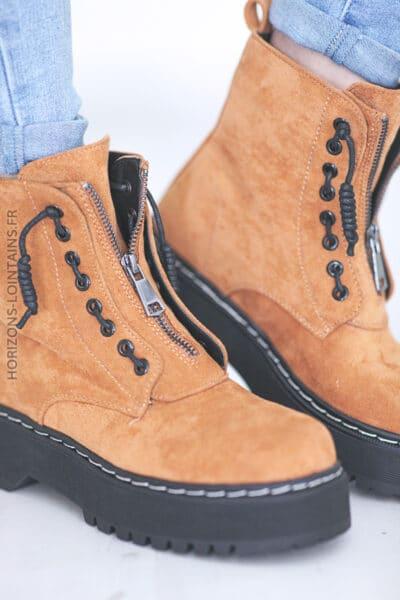 Chaussures montantes Nancy camel E008 (1)