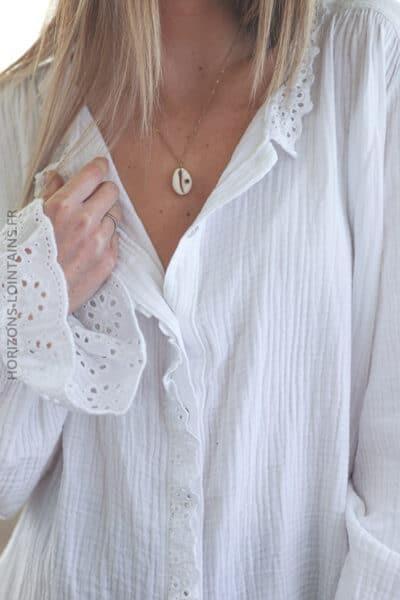 Chemise blanche en gaze de coton avec broderie anglaise E047 (7)