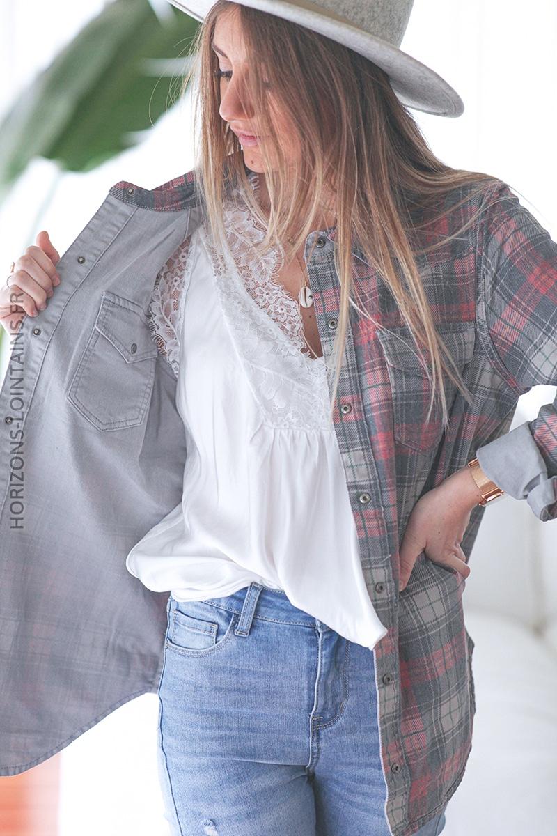 Chemise gris clair réversible à carreaux E006 (1)