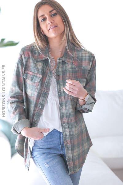 Chemise kaki clair réversible à carreaux E006 (1)