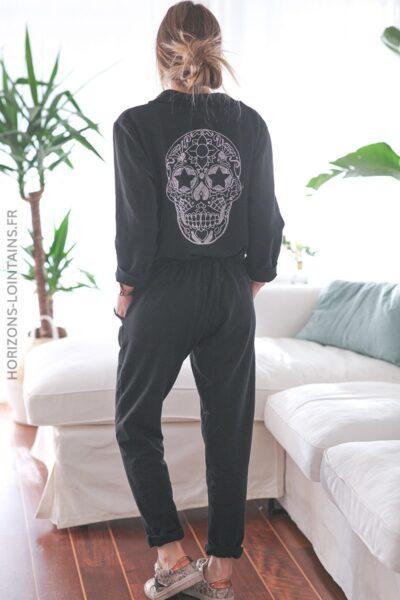 Combipantalon noir confort tête de mort strass dos E001 (1)