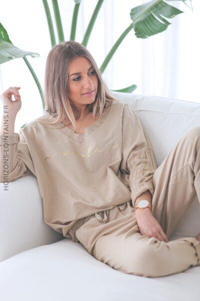Ensemble camel clair confort pull et jogg message voila E002 (1)