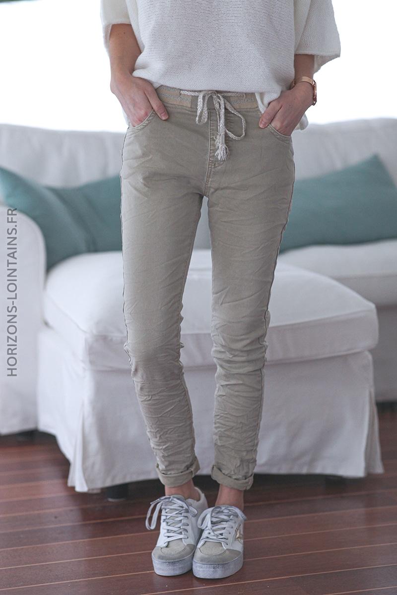 Jean beige confort ceinture élastique brillante E016 (1)