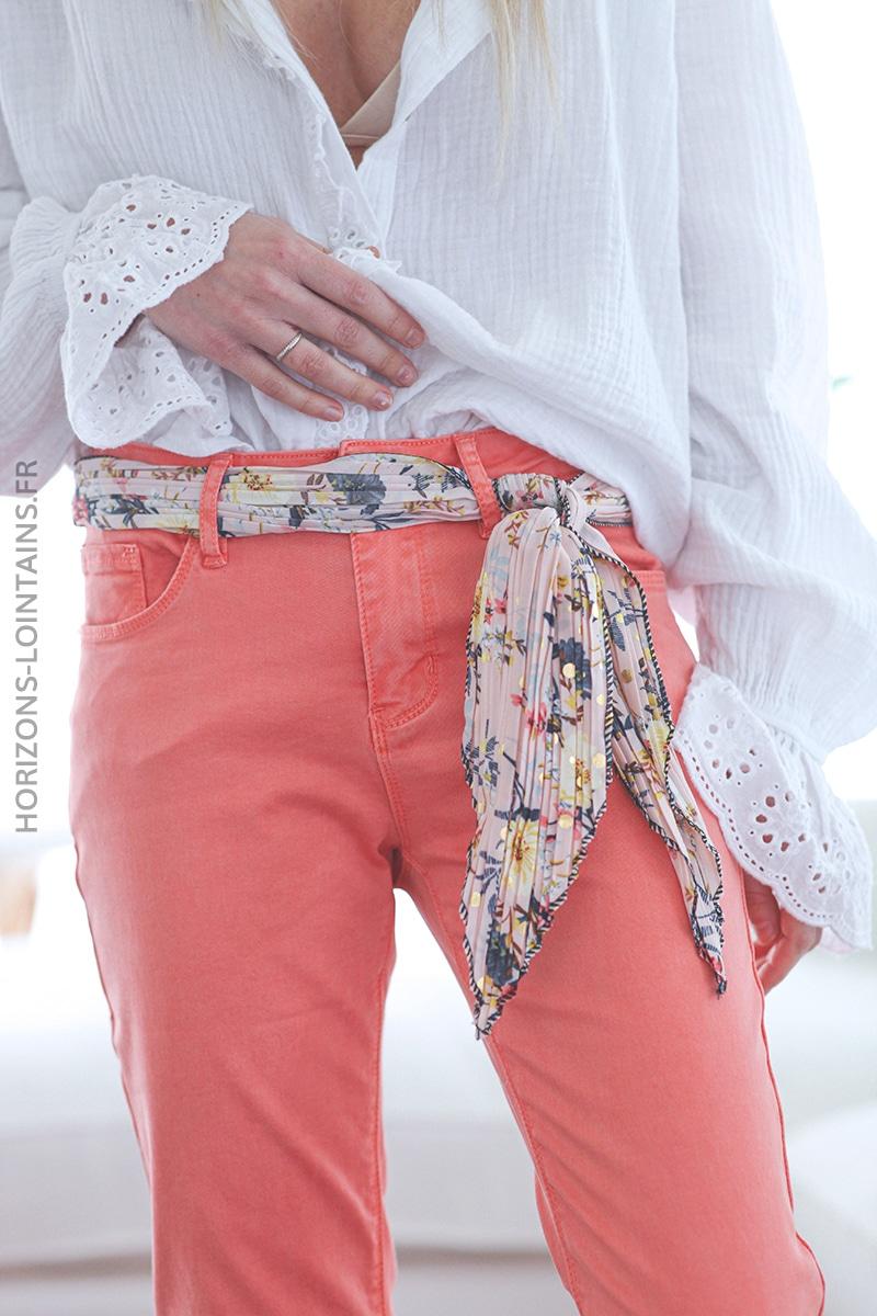 Jean corail avec ceinture tissus motif floral E017 (1)