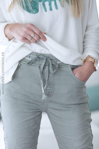 Jean kaki clair confort ceinture élastique brillante E016 (1)