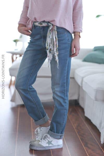 Jean slim clair ceinture tissus fleurs roses E018 (1)