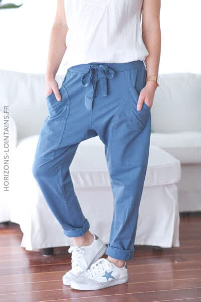 Jogging urbain poches decontracte homewear bleu jean (1)