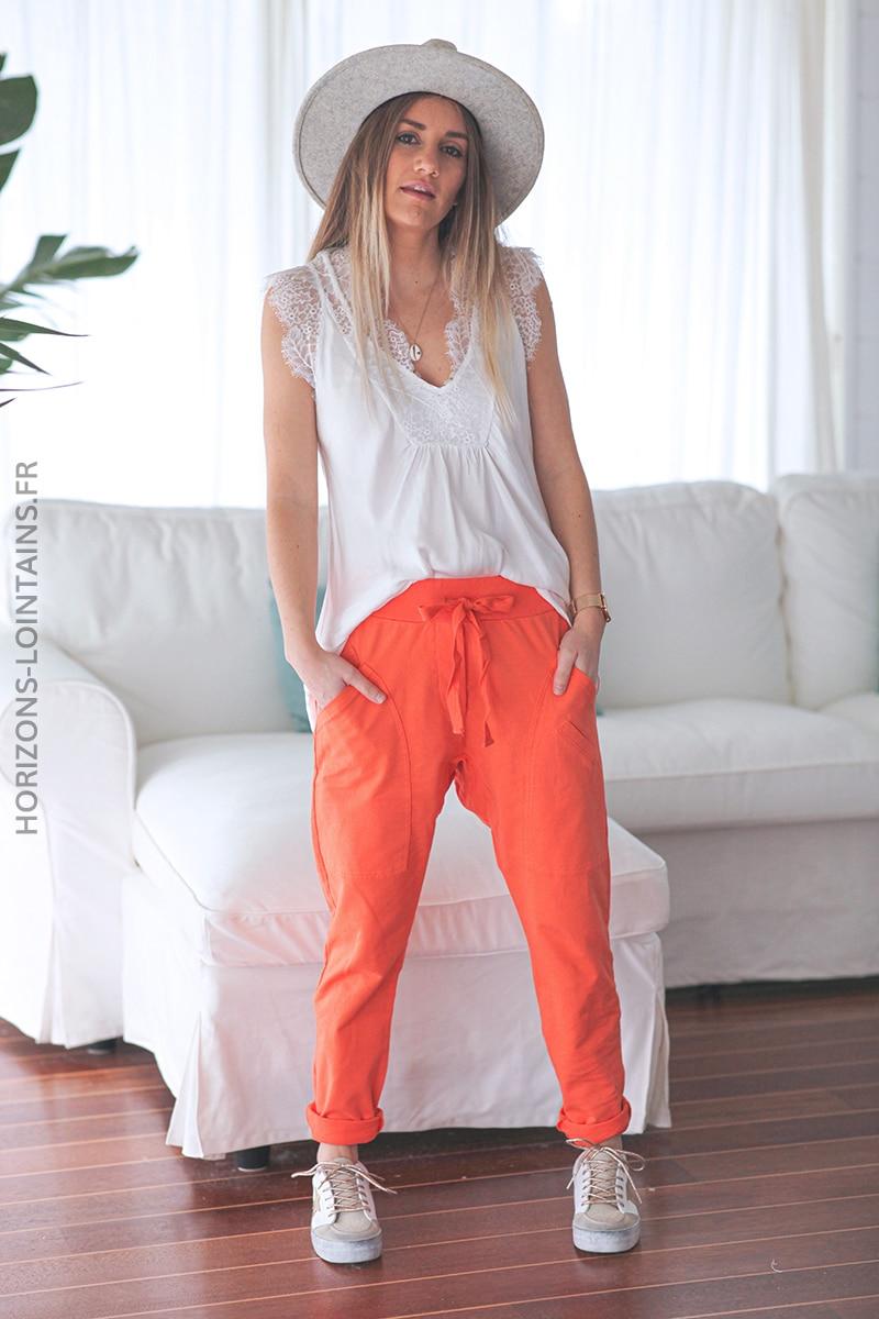 Jogging urbain poches decontracte homewear orange (1)