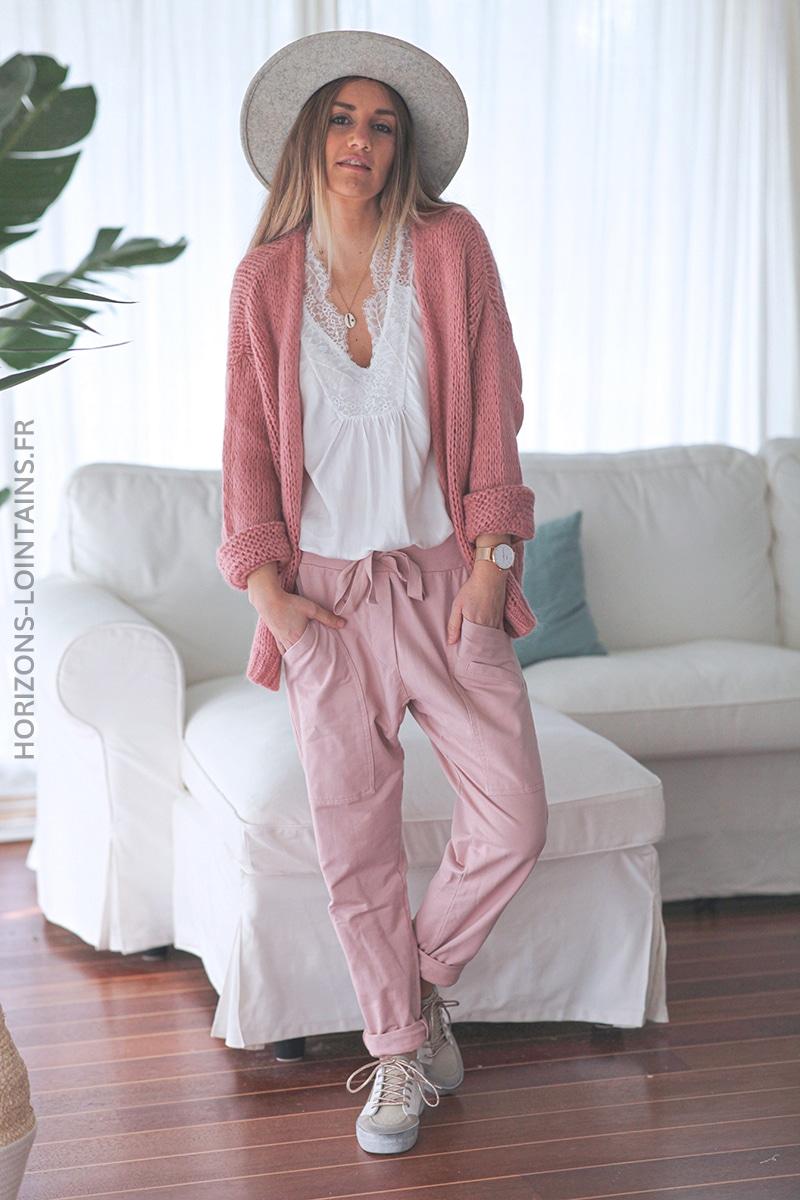 Jogging urbain poches decontracte homewear rose pale (1)