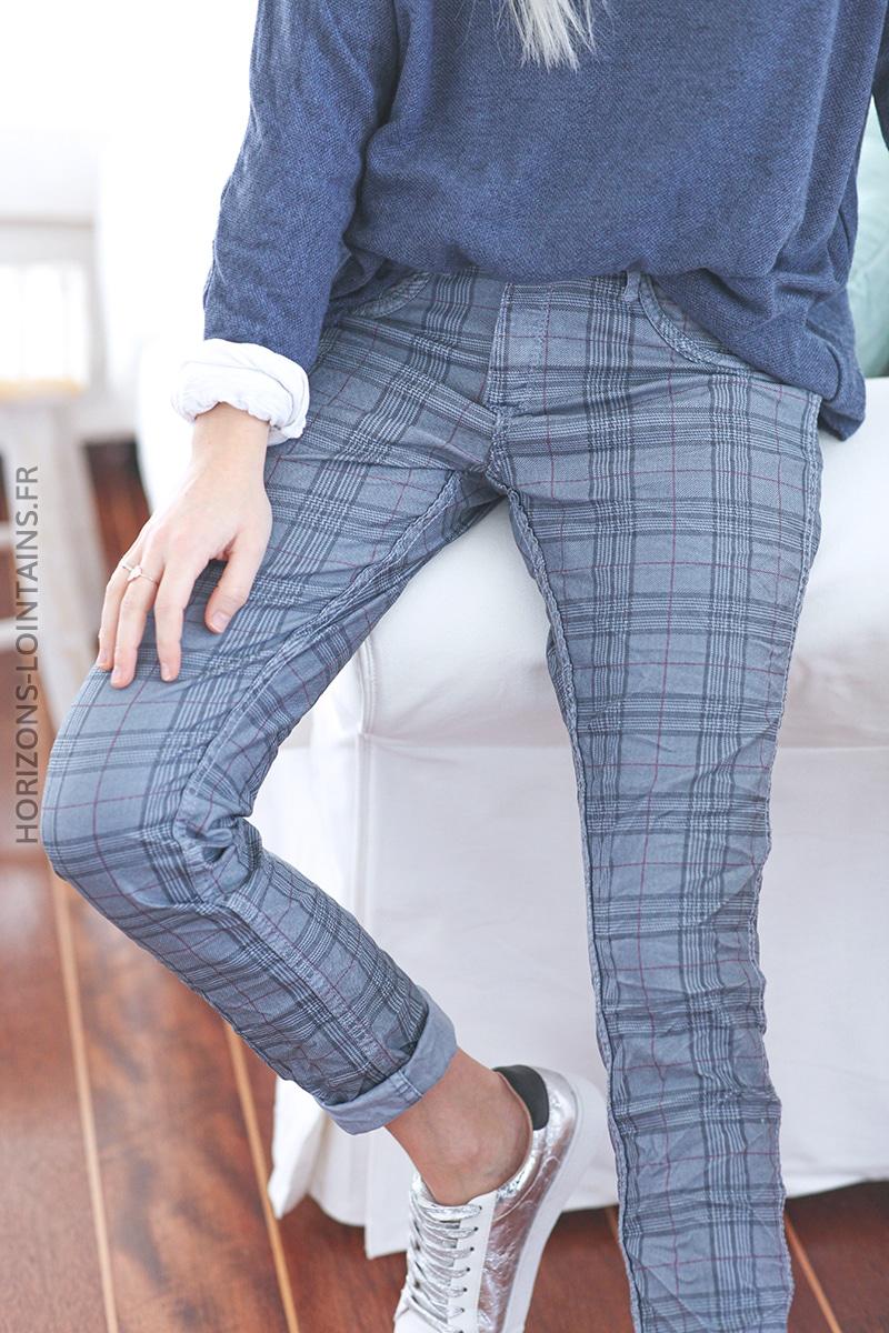 Pantalon bleu clair délavé à carreaux réversible E011 (1)