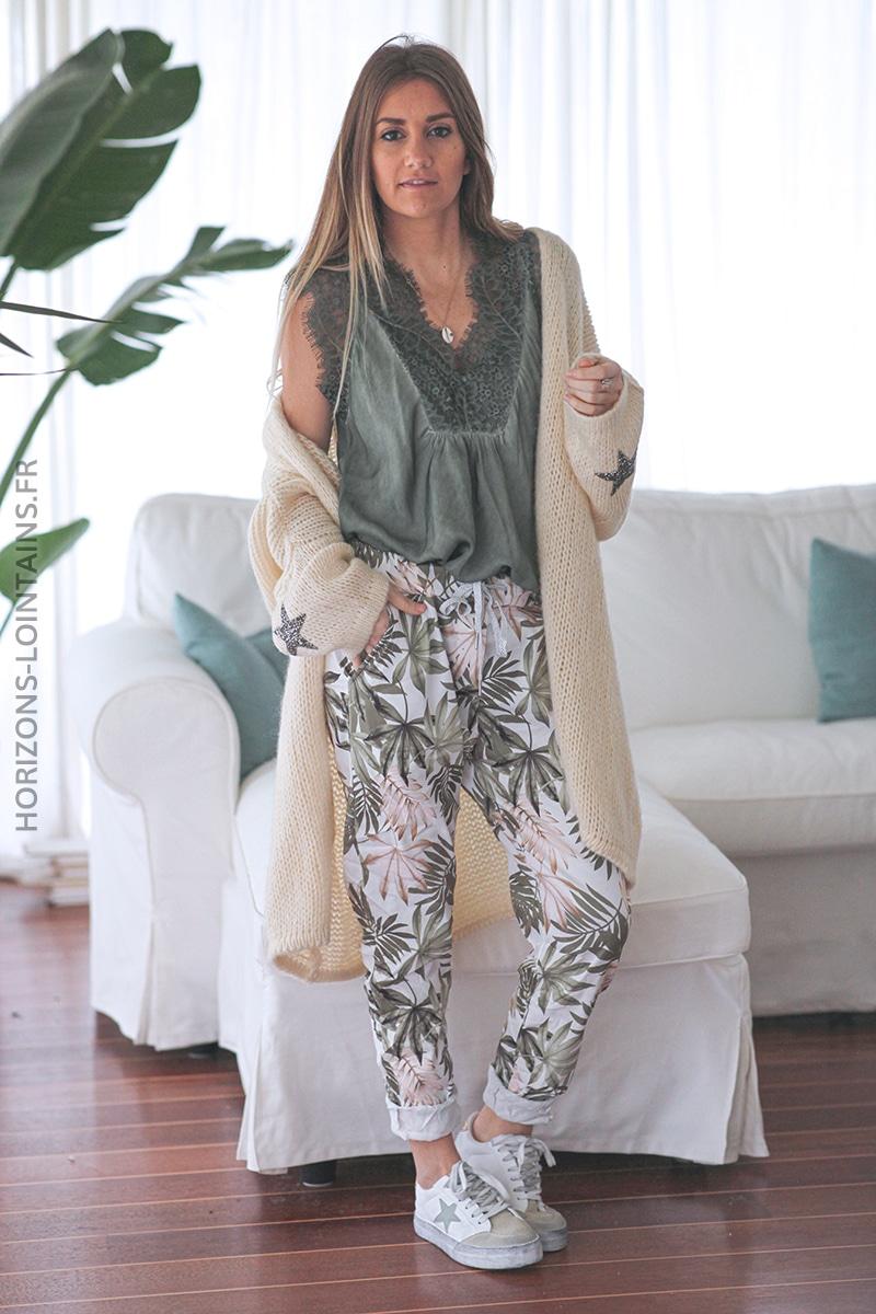 Pantalon confort motif feuilles palmes kaki E019 (1)