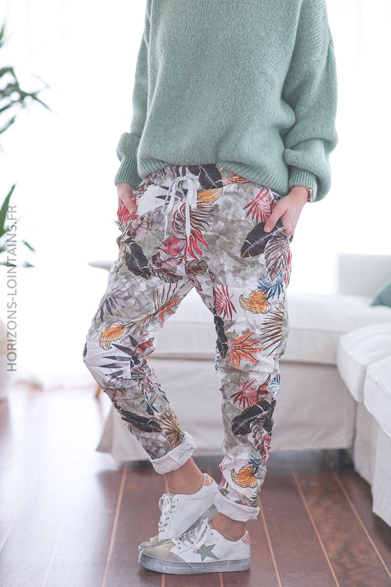 Pantalon confort tie and dye kaki et motif feuillage E025 (1)