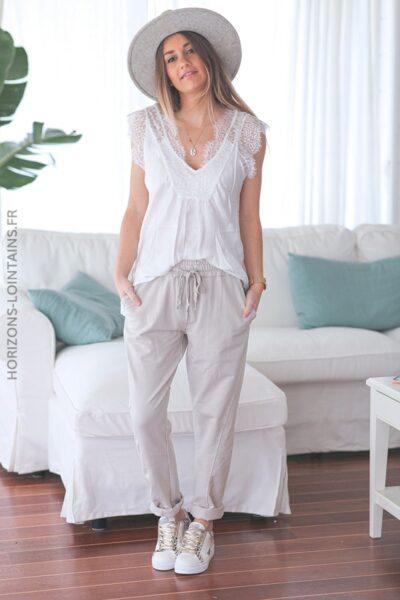 Pantalon jogging beige confort lacet brillant E001 (1)