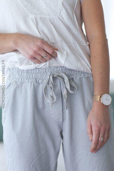 Pantalon jogging gris clair confort lacet brillant E001 (1)
