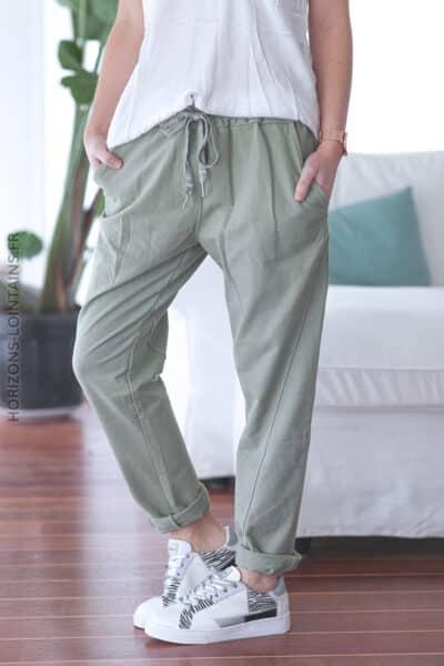 Pantalon jogging kaki confort lacet brillant E001 (1)