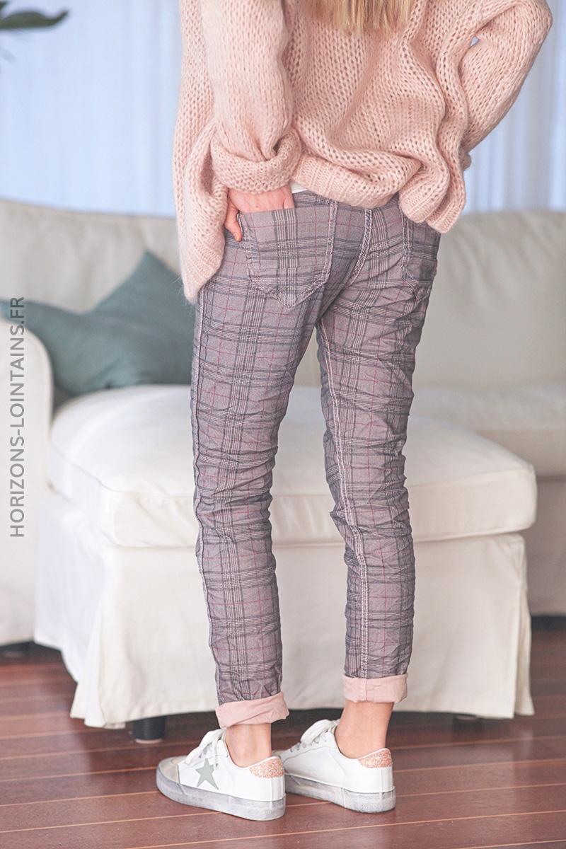 Pantalon rose pale à carreaux réversible E011 (1)