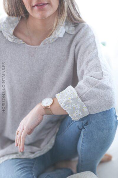 Pull beige doux avec tunique à fleurs E003 (1)