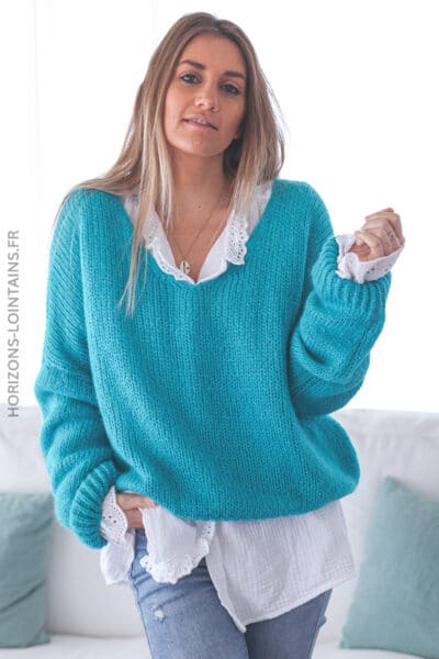 Pull bleu turquoise loose mailles E042 (1)