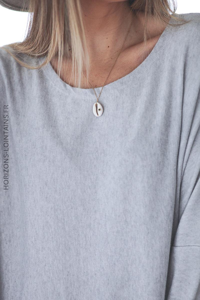 Pull large gris clair manches chauve souris D172 (1)