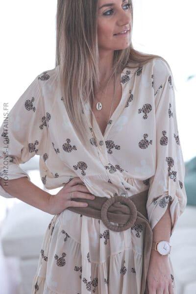 Robe crème motif style leopard E006 (11)