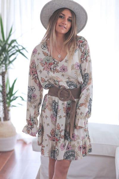 Robe crème motifs fleurs et calavera E007 (1)