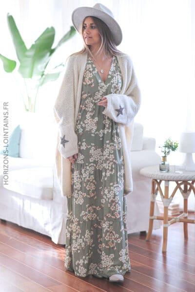 Robe kaki longue motif fleurs de cerisier E002 (1)