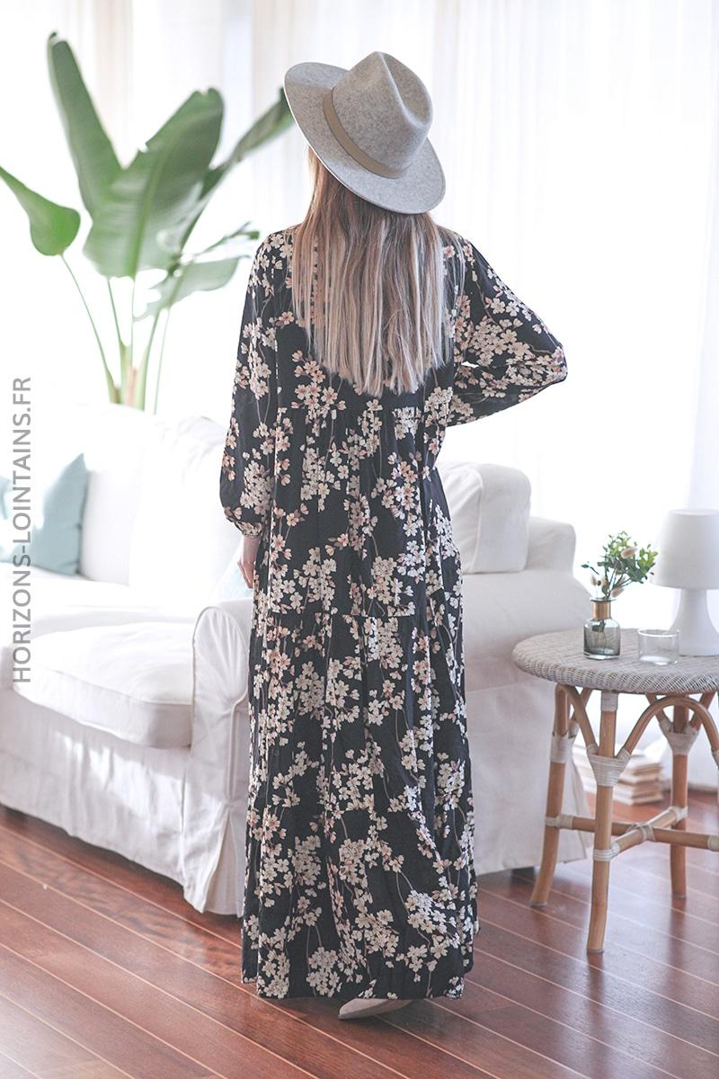 Robe noire longue motif fleurs de cerisier E002 (1)